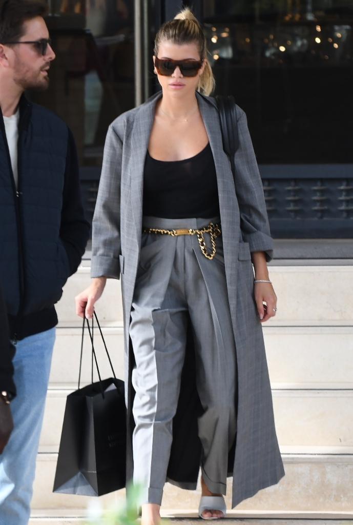 sofia richie, scott disick, beverly hills, date, white shoes, gray suit, shopping
