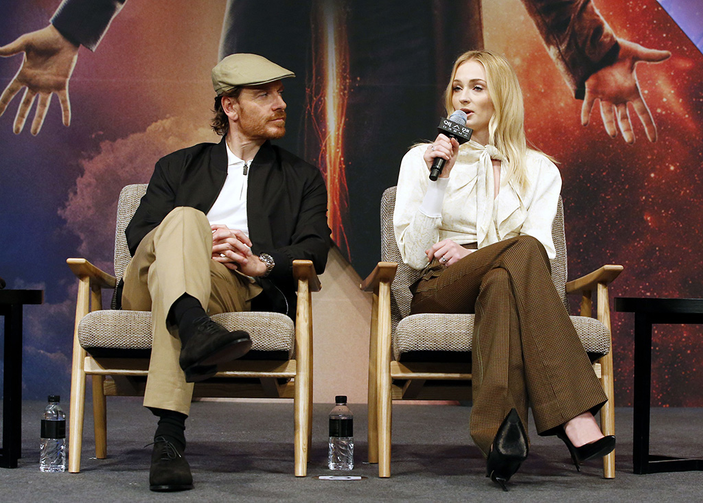 sophie turner, chloe pussybow plouse, Michael Fassbender (L) and Sophie Turner (R) speak during an X-Man: Dark Phoenix press conference for the movie's premiere in Seoul, South Korea, 27 May 2019. The movie will open in South Korean theaters on 05 June 2019.X-Man: Dark Phoenix movie premiere in Seoul, Korea - 27 May 2019