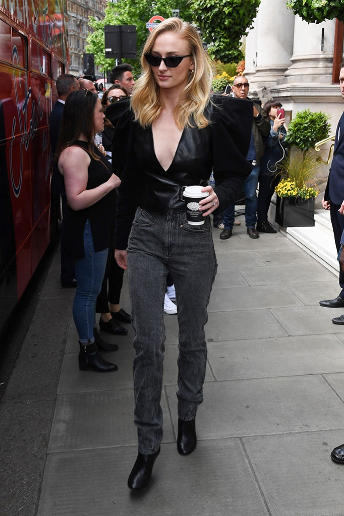Sophie Turner, isabel marant fall 2019, boots, lafkee, celebrity style, london, Sophie Turner'The Late Late Show with James Corden' TV show filming, London, UK - 24 May 2019Wearing Isabel Marant Same Outfit as catwalk model *10120571ce