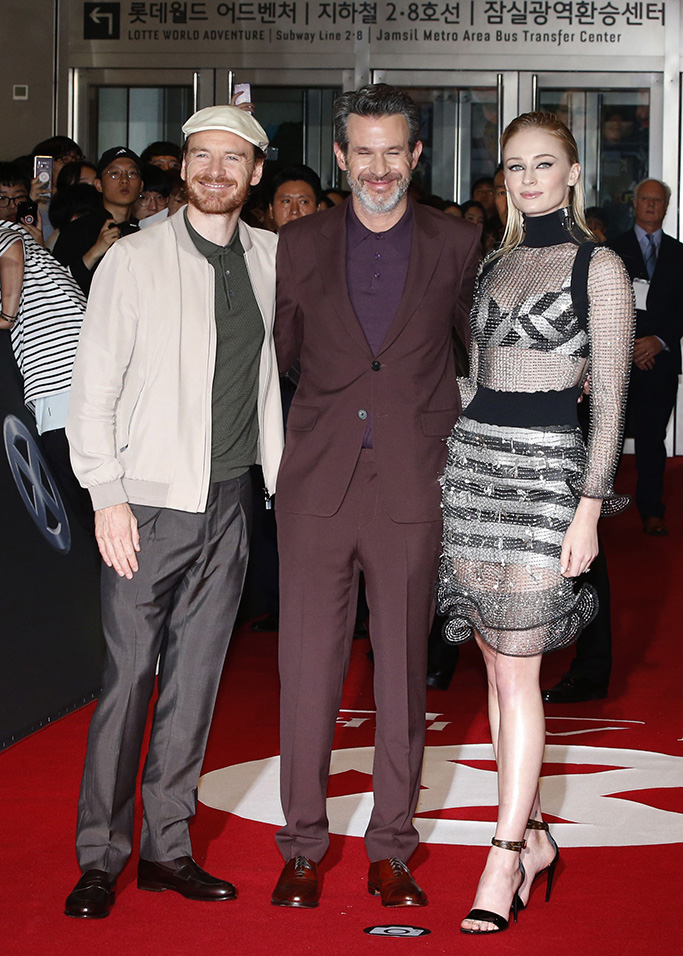 sophie turner, louis vuitton cruise 2020, celebrity style, chainmail dress, crop top, skirt, bra, sandals,Michael Fassbender, director Simon Kinberg and Sophie Turner arrive for the premiere of X-Man: Dark Phoenix at Lotte World Tower Special Outdoor Stage in Seoul, South Korea, 27 May 2019. The movie will open in South Korean theaters on 05 June 2019.X-Man: Dark Phoenix movie premiere in Seoul, Korea - 27 May 2019