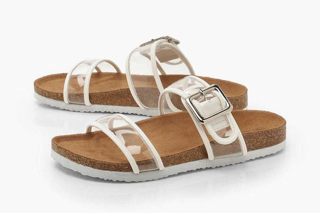 Clear Strap Footbed Sliders, summer 2019 sandals, summer trends, slides, see through shoes, clear sandals