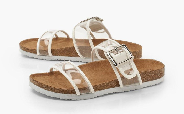 Clear Strap Footbed Sliders, summer 2019 sandals, summer trends, slides