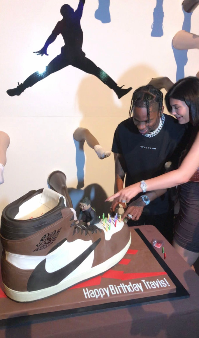Kylie Jenner and Travis Scott, travis scott air jordan 1 sneaker collab