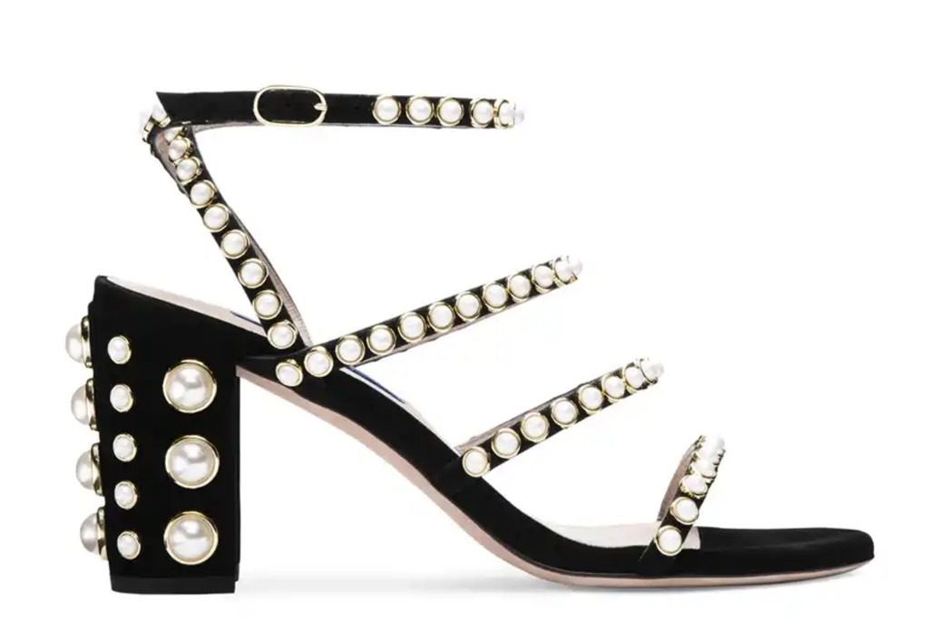 The Peridot Sandal by Stuart Weitzman, two strap sandal, summer 2019 sandal trends, summer 2019 shoe trends, black shoes, shoes with pearls, high heels