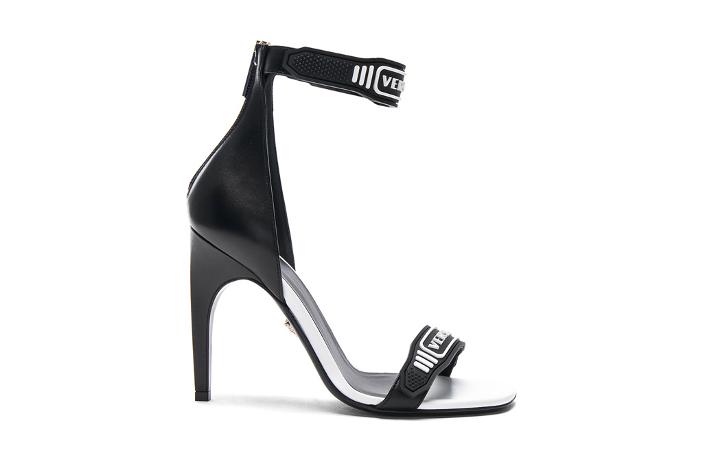 versace logo ankle strap leather sandals