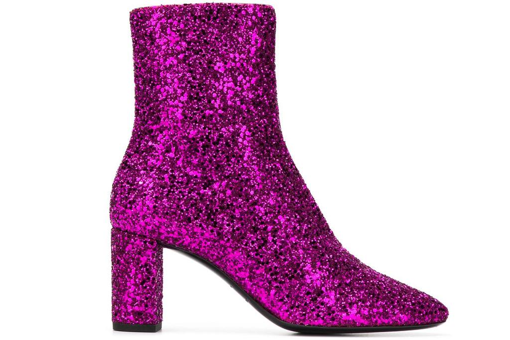Saint Laurent pink glitter booties