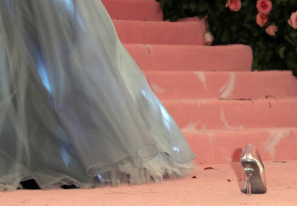 Zendaya shoe, cinderella, glass slipper, Costume Institute Benefit celebrating the opening of Camp: Notes on Fashion, Arrivals, The Metropolitan Museum of Art, New York, USA - 06 May 2019