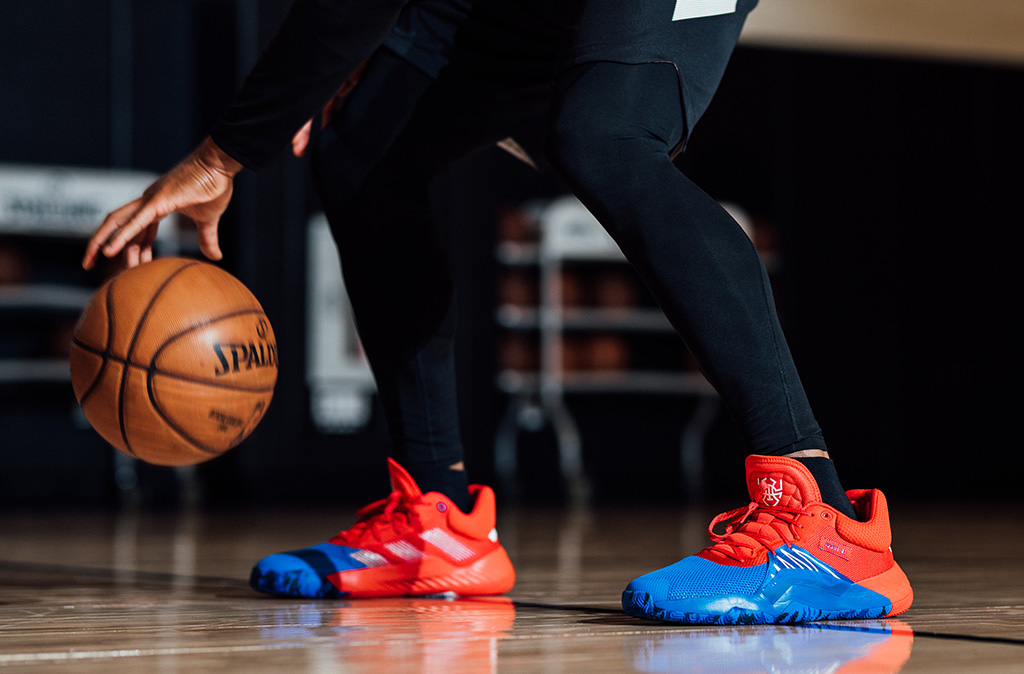 adidas, marvel, collaboration, sneakers, donovan mitchell signature shoe, red blue