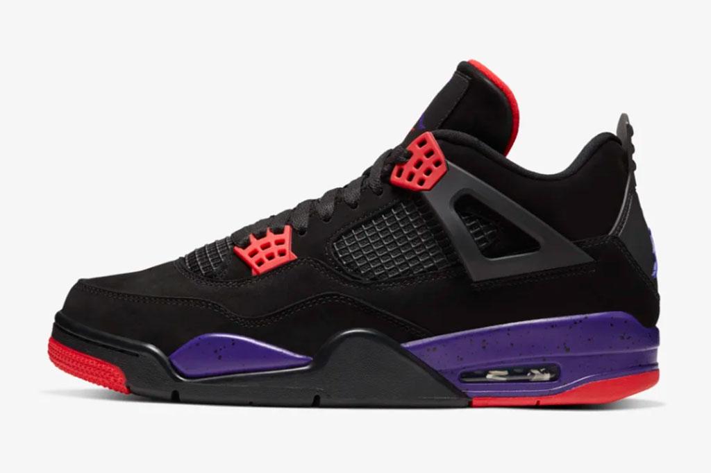 Air Jordan 4 Raptors sneakers.