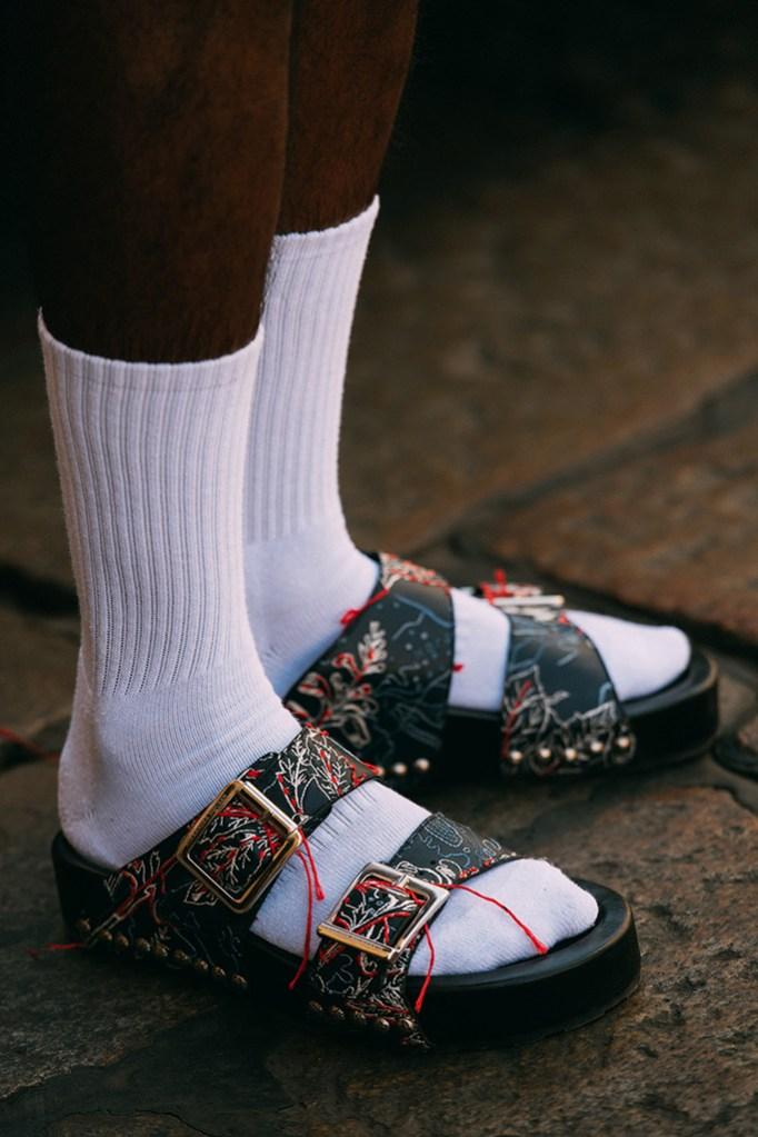 Alexander McQueen, white tube socks, sandals, street style,