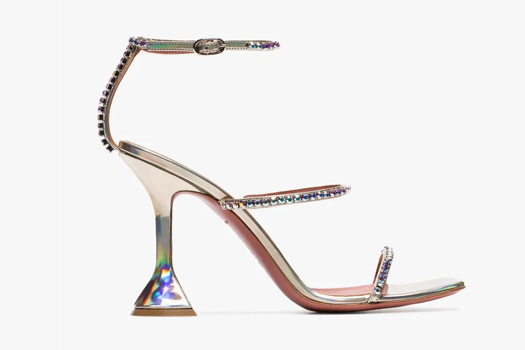 Amina Muaddi Glinda hologram sandals