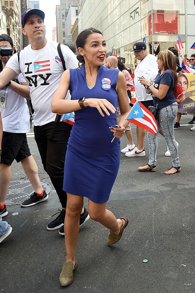 Alexandria Ocasio-Cortez, puerto rican day parade, blue dress, sam edelman flat shoes, congresswoman