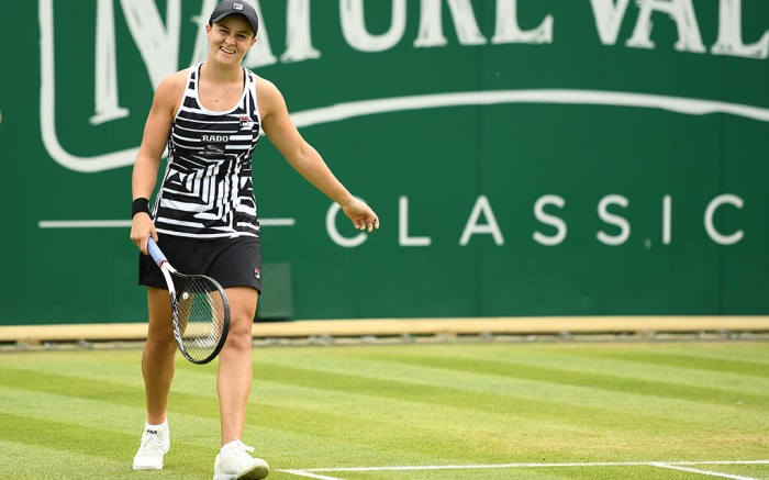 Ashleigh Barty of Australia celebrates after winning the Womens Final match against Julia Goerges of Germany.Nature Valley Classic 2019, Tennis, The Edgbaston Priory Club, Birmingham, UK - 23 June 2019