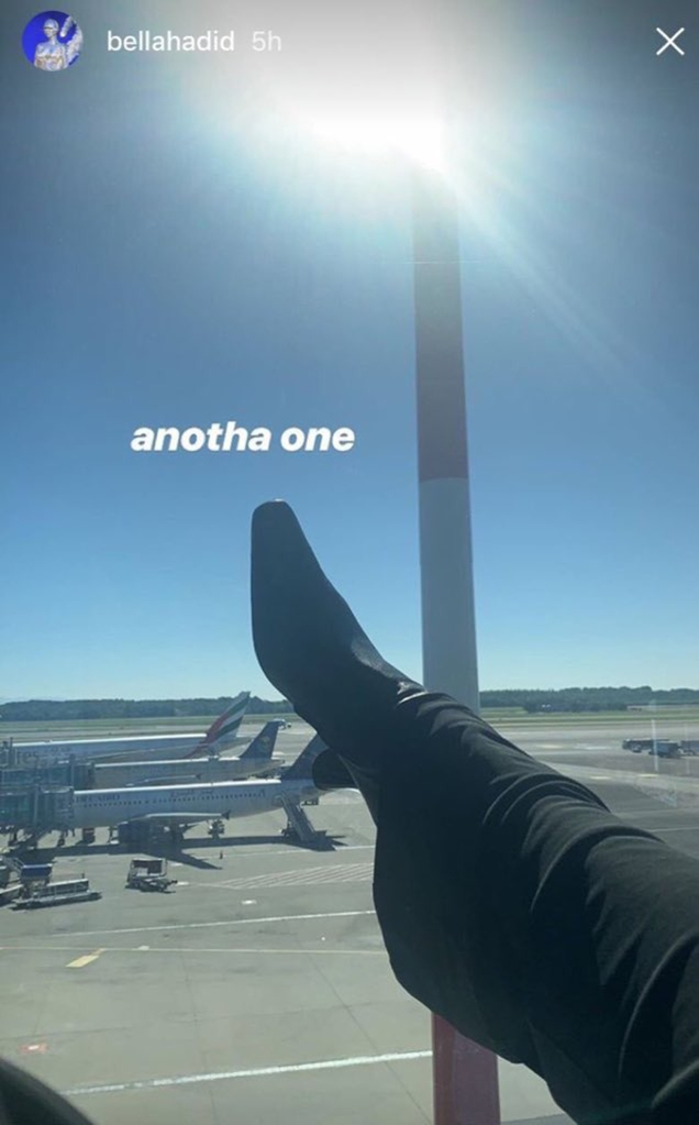 Bella Hadid shoe photo, plane, instagram