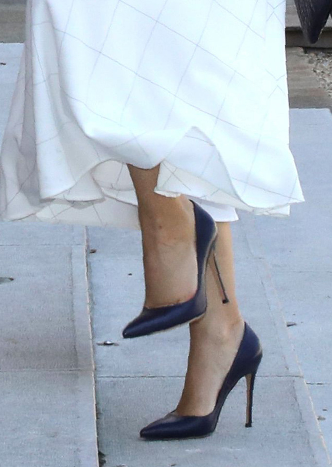 shoes, high heels, French president's wife Brigitte Trogneux (C) and French Education and Youth Affairs Minister Jean-Michel Blanquer (L) welcome Crown Princess Mary of Denmark at the Elysee Palace in Paris, France 24 June 2019.Crown Princess Mary of Denmark in Paris, France - 24 Jun 2019