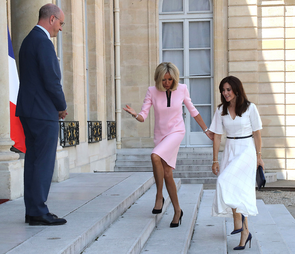 louis vuitton eyeline pumps, French president's wife Brigitte Trogneux (C) and French Education and Youth Affairs Minister Jean-Michel Blanquer (L) welcome Crown Princess Mary of Denmark at the Elysee Palace in Paris, France 24 June 2019.Crown Princess Mary of Denmark in Paris, France - 24 Jun 2019