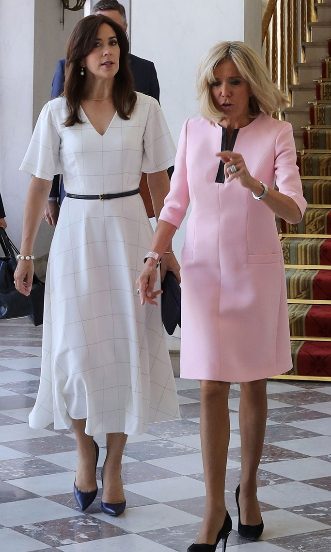 louis vuitton eyeline pumps, French president's wife Brigitte Trogneux (R) and French Education and Youth Affairs Minister Jean-Michel Blanquer (L) welcomes Crown Princess Mary of Denmark (2R) at the Elysee Palace in Paris, France 24 June 2019.Crown Princess Mary of Denmark in Paris, France - 24 Jun 2019