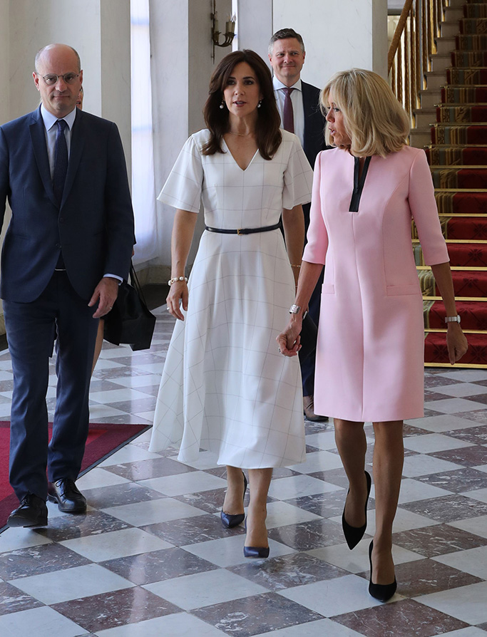 louis vuitton eyeline pumps, gold detail heel, French president's wife Brigitte Trogneux (R) and French Education and Youth Affairs Minister Jean-Michel Blanquer (L) welcomes Crown Princess Mary of Denmark (2R) at the Elysee Palace in Paris, France 24 June 2019.Crown Princess Mary of Denmark in Paris, France - 24 Jun 2019