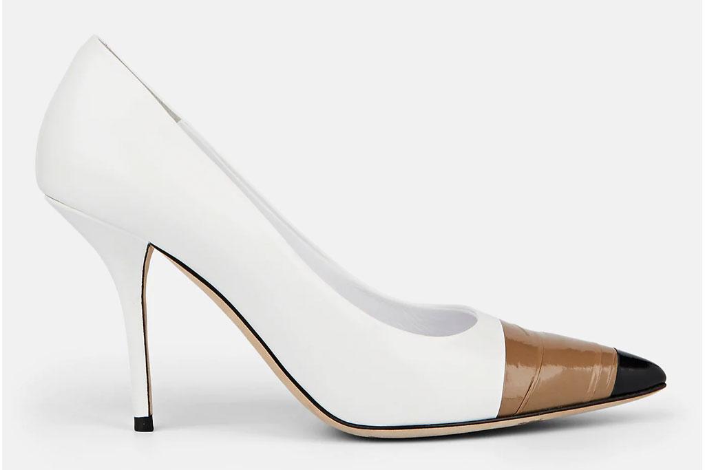 Burberry, tape brown cap toe, heels, annalise pumps