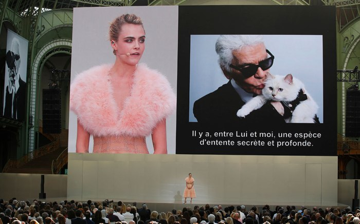 Cara Delevingne on stage at the Karl Forever Karl Lagerfeled memorial celebration in Paris.
