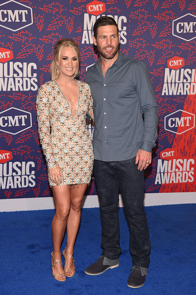 michael cinco nude dress, rene caovilla sandals, feet, Carrie Underwood and Mike FisherCMT Music Awards, Arrivals, Bridgestone Arena, Nashville, USA - 05 Jun 2019