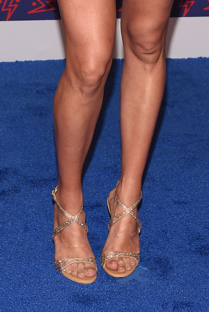 rene caovilla sandals, feet, gold crossover straps crystal, Carrie UnderwoodCMT Music Awards, Arrivals, Bridgestone Arena, Nashville, USA - 05 Jun 2019