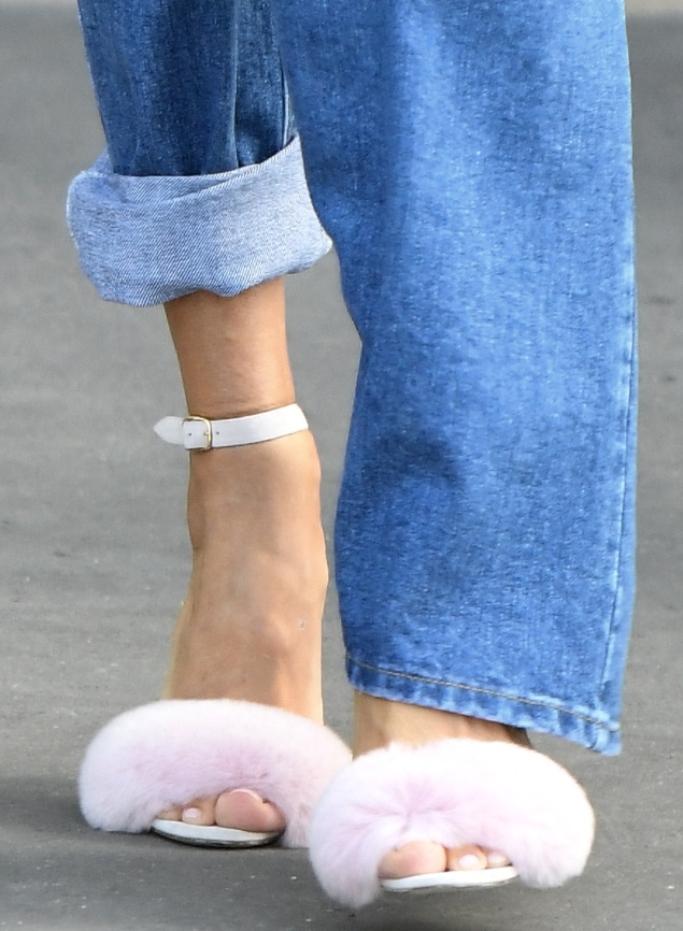 celine dion furry sandals