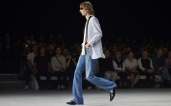 Model on the catwalkCeline show, Runway,