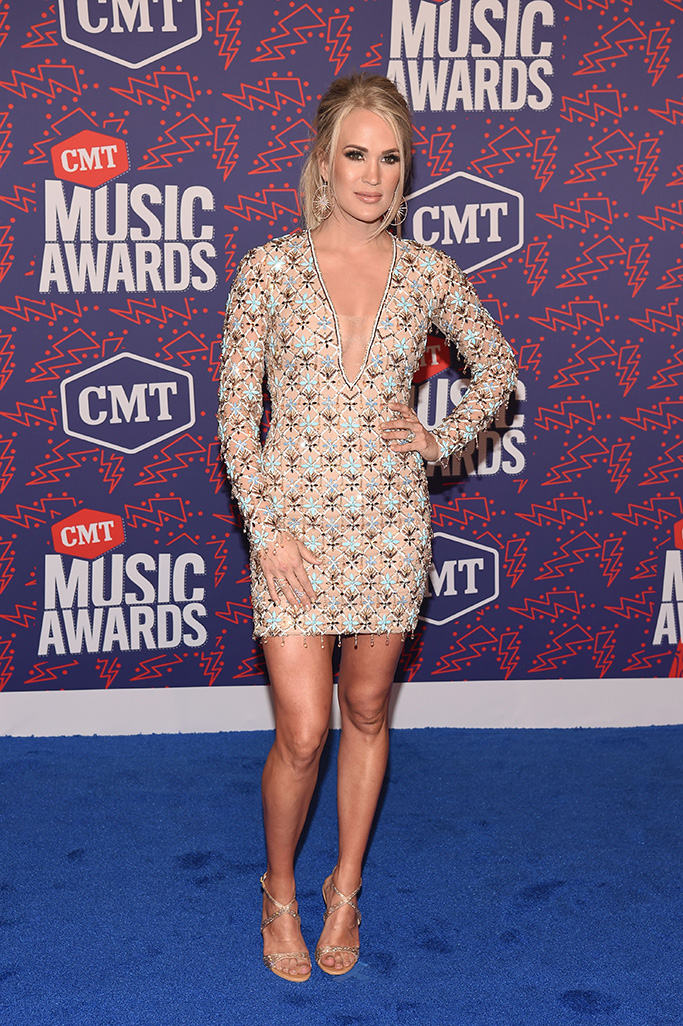 michael cinco nude dress, Carrie Underwood, CMT Music Awards, Arrivals, Bridgestone Arena, Nashville, USA - 05 Jun 2019