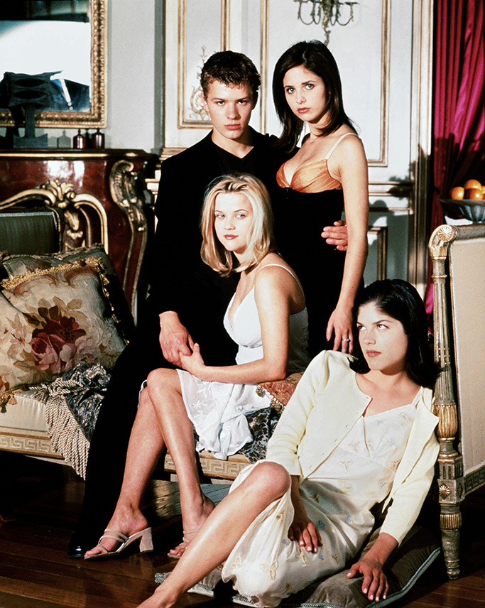 Editorial use only. No book cover usage.Mandatory Credit: Photo by Bob Frame/Columbia/Kobal/Shutterstock (5882118r)Ryan Phillippe, Sarah Michelle Gellar, Selma Blair, Reese WitherspoonCruel Intentions - 1999Director: Roger KumbleColumbiaUSAFilm PortraitDramaSexe intentions