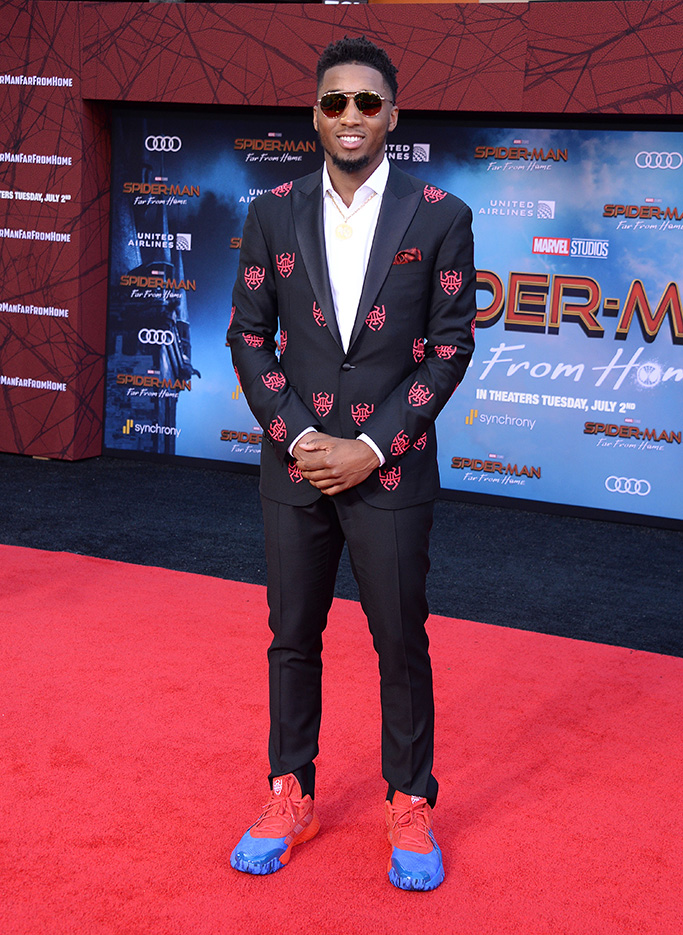 Donovan Mitchell, Adidas x Marvel spiderman shoes, 'Spider-Man: Far From Home' film premiere, Arrivals, TCL Chinese Theatre, Los Angeles, USA - 26 Jun 2019