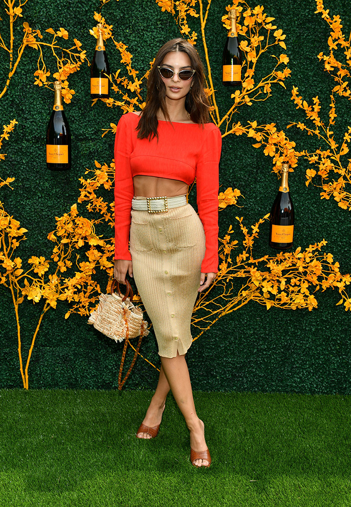 Emily Ratajkowski, red crop top, abs, celebrity style, pencil skirt, legs, mules, 12th Annual Veuve Clicquot Polo Classic, Arrivals, Liberty State Park, New Jersey, USA - 01 Jun 2019