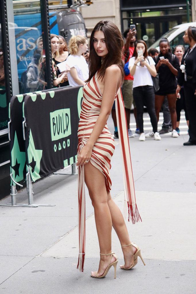 Emily Ratajkowski, aol build speaker series, jimmy choo minny sandals, monse striped dress