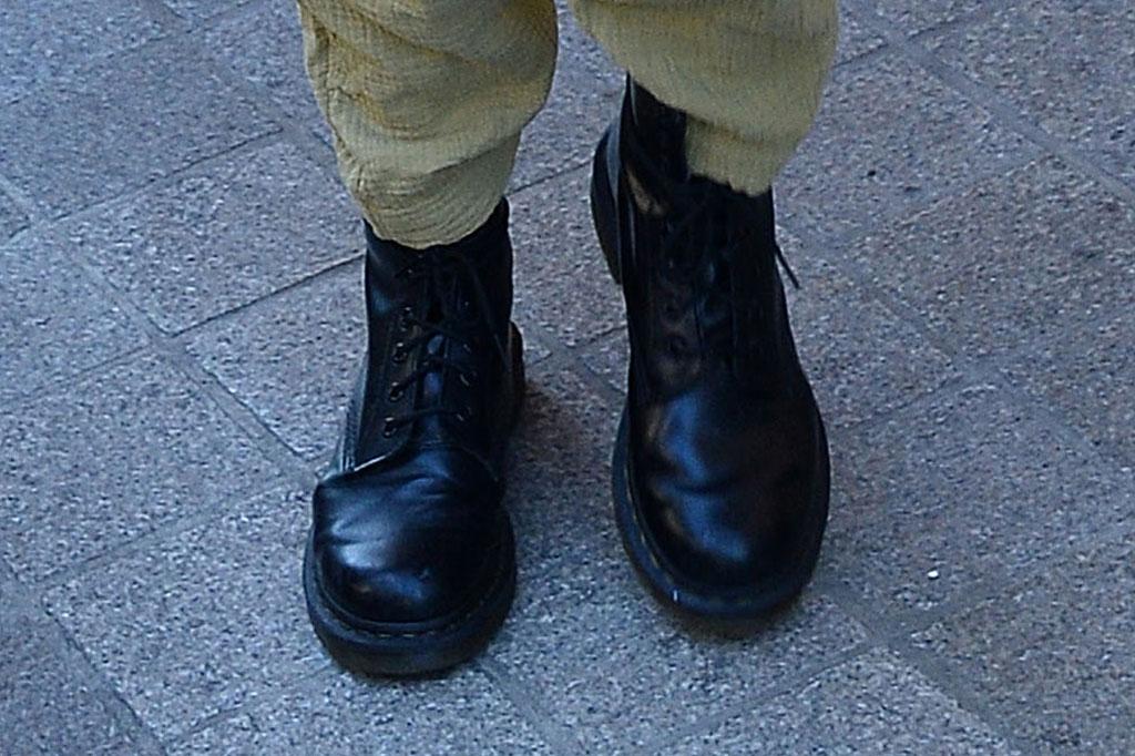 gigi hadid, celebrity style, dr. martens boots, jumpsuit, paris fashion week men's