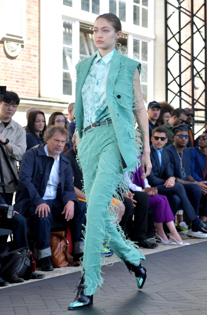 gigi hadid, berluti spring 2020, paris fashion week men's