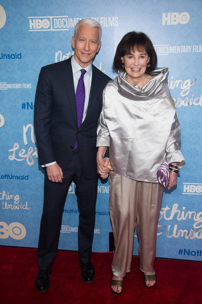 """Anderson Cooper and Gloria Vanderbilt attend the premiere of """"Nothing Left Unsaid"""" at the Time Warner Center, in New YorkNY Premiere of """"Nothing Left Unsaid"""", New York, USA"""