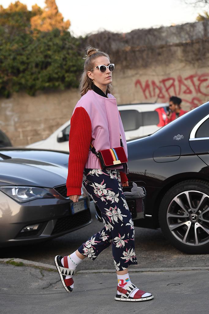 Attendee at Milan Fashion Week, fall 2019.