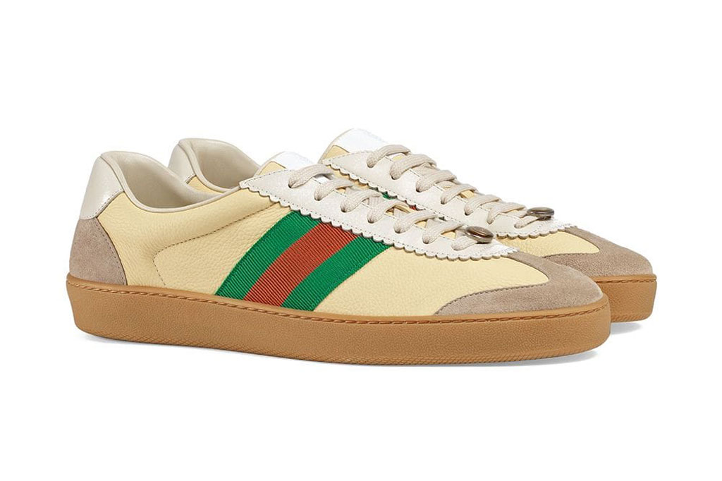 Gucci G74 leather sneaker with web detailing