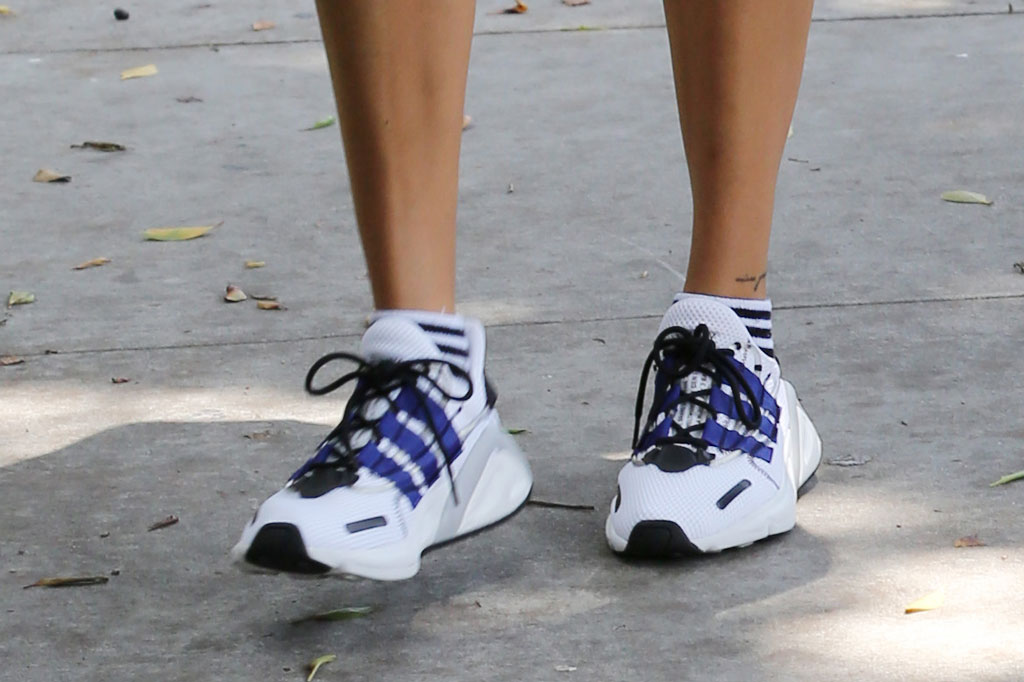 Hailey Baldwin, adidas lxcon sneakers, celebrity street style, may 2019