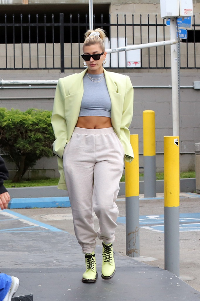 hailey baldwin, aym crop top, abs, sweatpants, dr martens x undercover boots, yellow blazer, celine sunglasses, celebrity street style,Justin Bieber and Hailey Baldwin stop at a gas station to pick up some snacks. Justin was sporting a hoodie that said I love techno on the back. 01 Jun 2019 Pictured: Justin Bieber, Hailey Baldwin. Photo credit: Rachpoot/MEGA TheMegaAgency.com +1 888 505 6342 (Mega Agency TagID: MEGA434274_019.jpg) [Photo via Mega Agency]