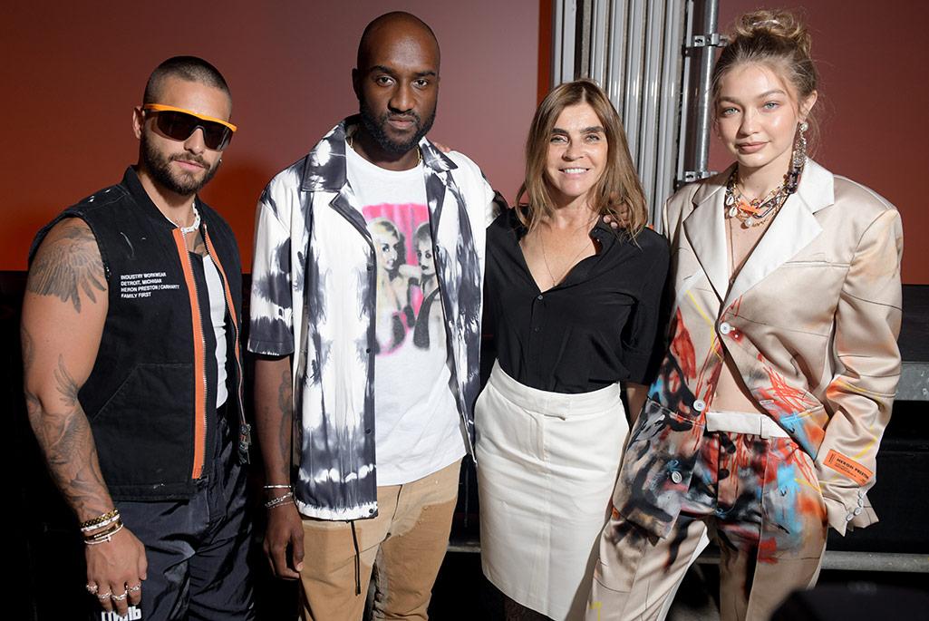 Front row at Heron Preston with Virgil Abloh, Carine Roitfeld and Gigi Hadid.