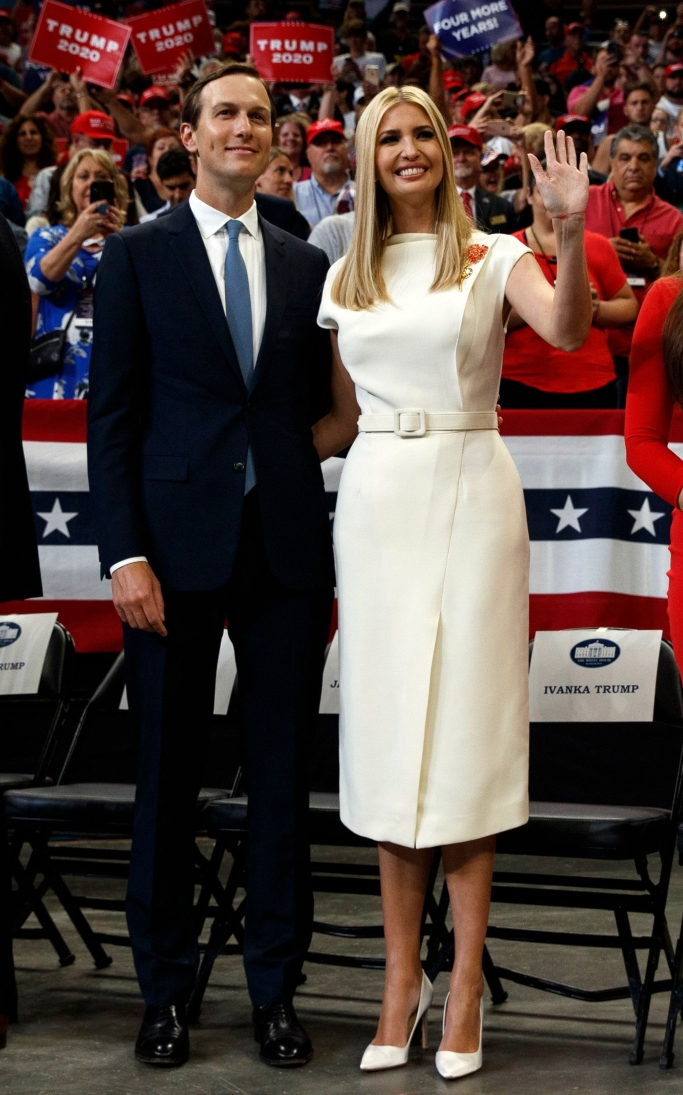 ivanka trump, oscar de la renta dress, manolo blahnik bb heels
