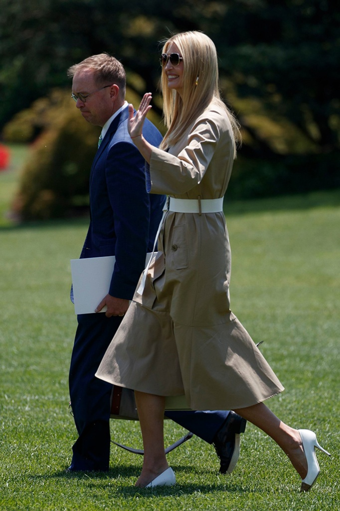 Ivanka Trump wears Burberry's Annalise pumps, Ivanka Trump and acting Chief of Staff Mick Mulvaney walk to board Marine One on the South Lawn of the White House in Washington, DC, USA, 26 June 2019. President Trump is departing for the G20 Summit in Japan, and a visit to Seoul, South Korea afterwards.US President Donald J. Trump is departing for the G20 Summit in Japan and Seoul, Korea., Washington, USA - 26 Jun 2019