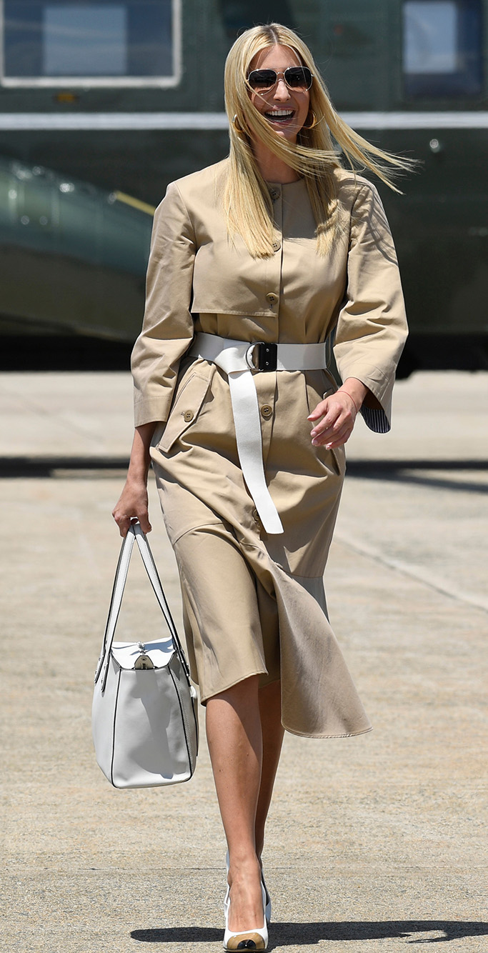 burberry Annalise Patent Leather Pumps, Ivanka Trump, daughter of President Donald Trump walks off of Marine One with acting chief of staff Mick Mulvaney to board Air Force One at Andrews Air Force Base, Md.,. Trump is heading to the G-20 in JapanTrump, Andrews Air Force Base, USA - 26 Jun 2019