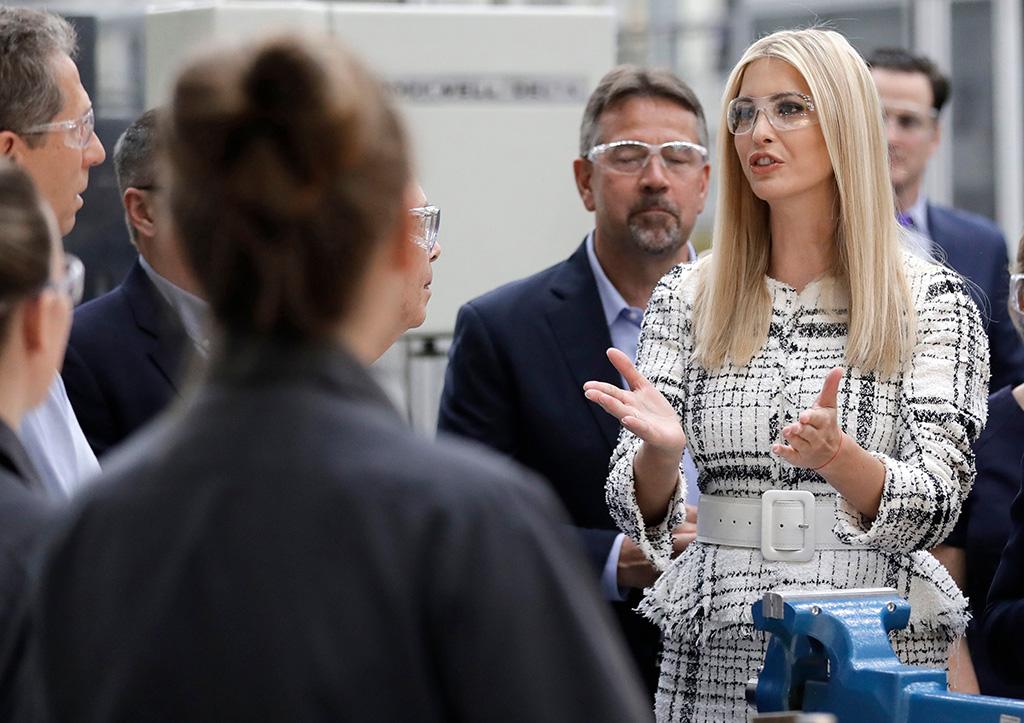Senior White House adviser Ivanka Trump, right, speaks to employees during a tour of the Siemens Energy Hub facility in Charlotte, N.CIvanka Trump, Charlotte, USA - 18 Jun 2019