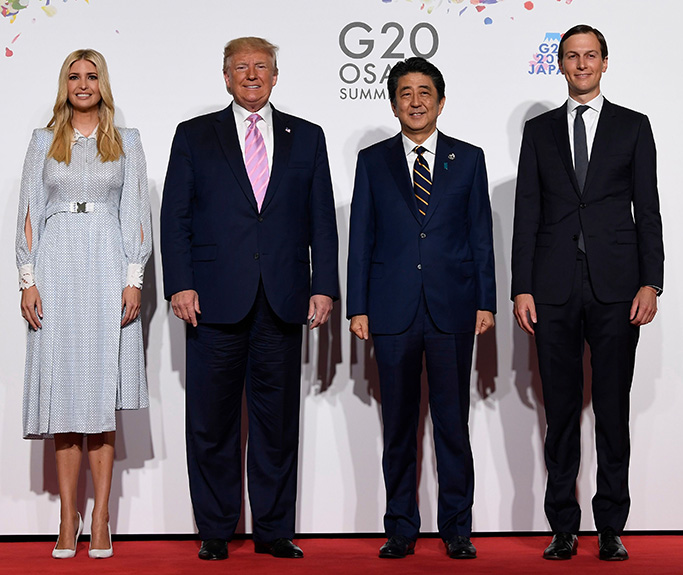 Donald Trump, Shinzo Abe. President Donald Trump poses for a photo with Japanese Prime Minister Shinzo Abe and Ivanka Trump and senior advisor Jared Kushner ahead of a meeting on the sidelines of the G-20 summit in Osaka, JapanTrump US , Osaka, Japan - 28 Jun 2019