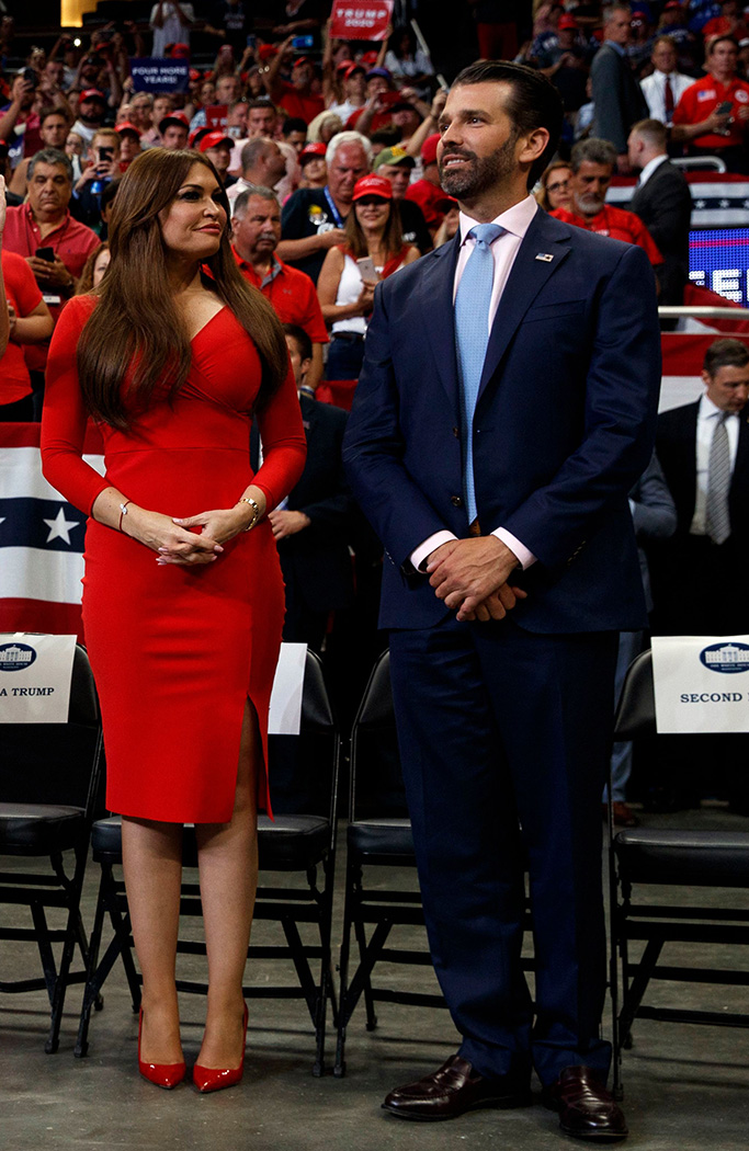 Chiara Boni La Petite Robe red dress, From left, Tiffany Trump, Lara Trump and Eric Trump, senior adviser Jared Kushner and Ivanka Trump, and Kimberly Guilfoyle and Donald Trump Jr., watch as President Donald Trump speaks at his re-election kickoff rally at the Amway Center, in Orlando, FlaElection 2020 Trump, Orlando, USA - 18 Jun 2019