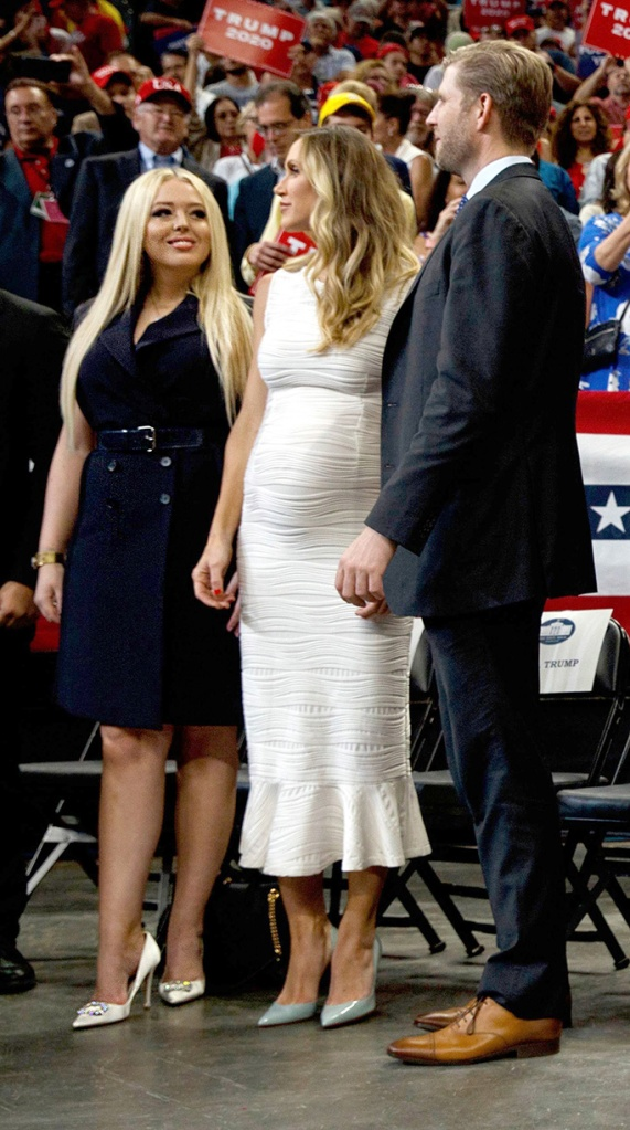 From left, Tiffany Trump, Lara Trump and Eric Trump, senior adviser Jared Kushner and Ivanka Trump, and Kimberly Guilfoyle and Donald Trump Jr., watch as President Donald Trump speaks at his re-election kickoff rally at the Amway Center, in Orlando, FlaElection 2020 Trump, Orlando, USA - 18 Jun 2019