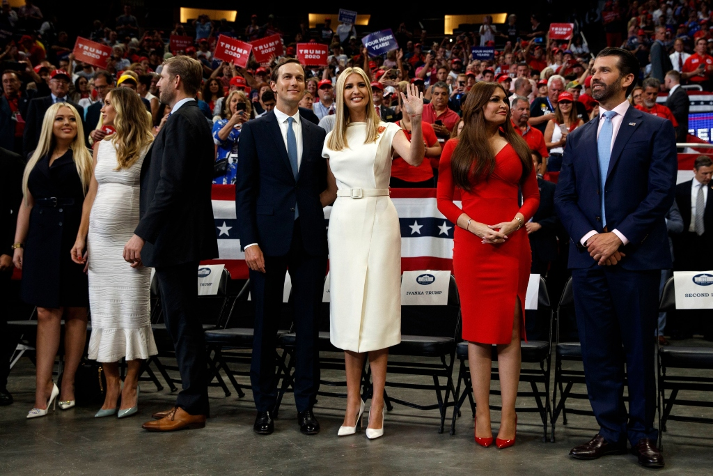 President Donald Trump re-election kickoff rally, Tiffany Trump, Lara Trump, Eric Trump, Jared Kushner, Ivanka Trump, Kimberly Guilfoyle, Donald Trump Jr.