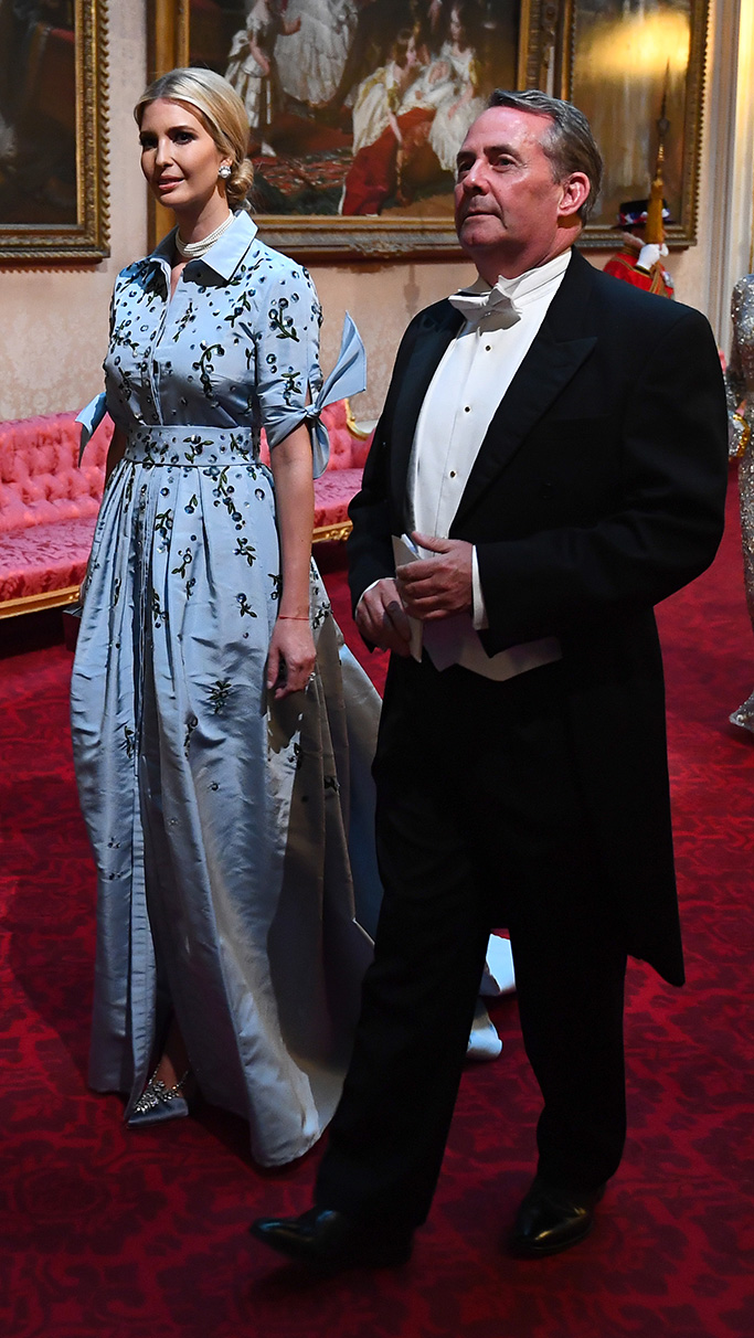 blue carolina herrera dress, Ivanka Trump and Secretary of State for International Trade, Liam Fox arrive through the East Gallery during the State Banquet at Buckingham Palace, London, on day one of the US President's three day state visit to the UKUS President Donald Trump state visit to London, UK - 03 Jun 2019
